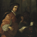 A man playing the lute with a servant holding a music sheet - Karel de Moor